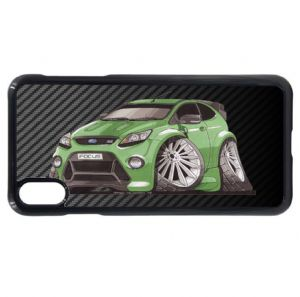 Koolart Carbon Fiber Fibre & Green Mk2 Focus RS Turbo Car Image Mobile Phone Case Fits iPhone